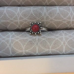 Bohemian Simulated Red Turquoise Ring